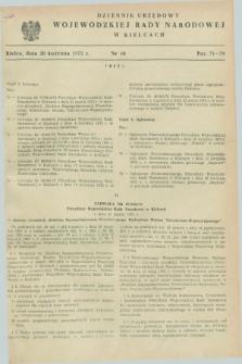 Dziennik Urzędowy Wojewódzkiej Rady Narodowej w Kielcach. 1972, nr 10 (20 kwietnia)