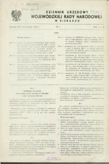 Dziennik Urzędowy Wojewódzkiej Rady Narodowej w Sieradzu. 1982, nr 1 (14 kwietnia)