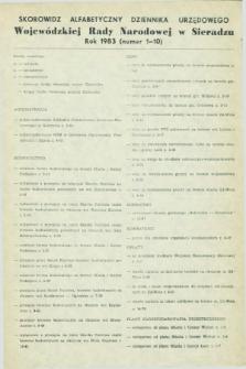 Dziennik Urzędowy Wojewódzkiej Rady Narodowej w Sieradzu. 1983, Skorowidz alfabetyczny