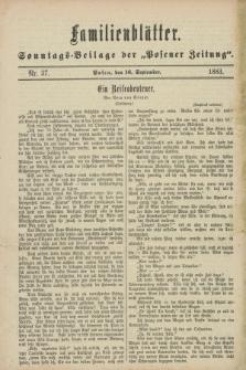 "Familienblätter : Sonntags-Beilage der ""Posener Zeitung"". 1883, Nr. 37 (16 September)"