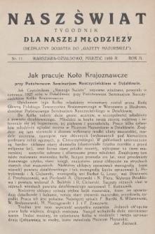 """Nasz Świat : tygodnik dla naszej młodzieży : bezpłatny dodatek do """"Gazety Mazurskiej"""". 1930, nr11"""