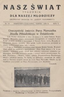 """Nasz Świat : tygodnik dla naszej młodzieży : bezpłatny dodatek do """"Gazety Mazurskiej"""". 1930, nr13"""