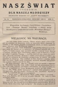 """Nasz Świat : tygodnik dla naszej młodzieży : bezpłatny dodatek do """"Gazety Mazurskiej"""". 1930, nr16"""