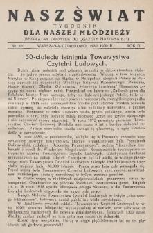 """Nasz Świat : tygodnik dla naszej młodzieży : bezpłatny dodatek do """"Gazety Mazurskiej"""". 1930, nr20"""