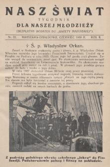 """Nasz Świat : tygodnik dla naszej młodzieży : bezpłatny dodatek do """"Gazety Mazurskiej"""". 1930, nr22"""