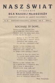 """Nasz Świat : tygodnik dla naszej młodzieży : bezpłatny dodatek do """"Gazety Mazurskiej"""". 1930, nr23"""