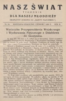 """Nasz Świat : tygodnik dla naszej młodzieży : bezpłatny dodatek do """"Gazety Mazurskiej"""". 1930, nr24"""