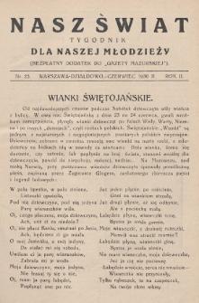 """Nasz Świat : tygodnik dla naszej młodzieży : bezpłatny dodatek do """"Gazety Mazurskiej"""". 1930, nr25"""