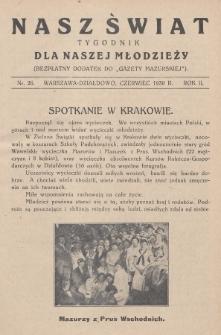 """Nasz Świat : tygodnik dla naszej młodzieży : bezpłatny dodatek do """"Gazety Mazurskiej"""". 1930, nr26"""