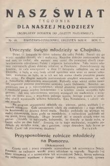 """Nasz Świat : tygodnik dla naszej młodzieży : bezpłatny dodatek do """"Gazety Mazurskiej"""". 1930, nr49"""