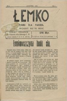 Łemko : pismo dla naroda. R.1, nr 4 (łystopad 1928)