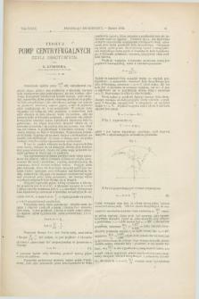 Przegląd Techniczny : czasopismo miesięczne poświęcone sprawom techniki i przemysłu. [R.18], T.29, [z. 3] (marzec 1892)