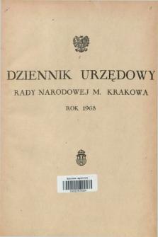Dziennik Urzędowy Rady Narodowej M. Krakowa. 1968, Skorowidz alfabetyczny
