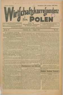 """Wirtschaftskorrespondenz für Polen : organ der """"Wirtschaftlischen Vereinigung für Polnisch-Schlesien"""". Jg.4, Nr. 62 (3 August 1927)"""