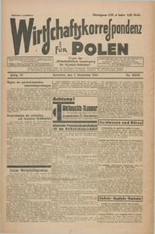 """Wirtschaftskorrespondenz für Polen : organ der """"Wirtschaftlischen Vereinigung für Polnisch-Schlesien"""". Jg.4, Nr. 98/99 (7 Dezember 1927) + dod."""