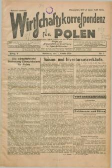 """Wirtschaftskorrespondenz für Polen : organ der """"Wirtschaftlischen Vereinigung für Polnisch-Schlesien"""". Jg.5, Nr. 1 (1 Januar 1928) + dod."""