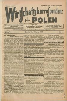 """Wirtschaftskorrespondenz für Polen : Organ der """"Wirtschaftlischen Vereinigung für Polnisch-Schlesien"""". Jg.5, Nr. 4 (11 Januar 1928)"""