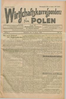 """Wirtschaftskorrespondenz für Polen : organ der """"Wirtschaftlischen Vereinigung für Polnisch-Schlesien"""". Jg.5, Nr. 6 (18 Januar 1928)"""