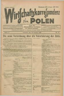 """Wirtschaftskorrespondenz für Polen : organ der """"Wirtschaftlischen Vereinigung für Polnisch-Schlesien"""". Jg.5, Nr. 15 (18 Februar 1928)"""