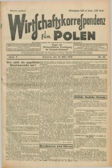 """Wirtschaftskorrespondenz für Polen : Organ der """"Wirtschaftlischen Vereinigung für Polnisch-Schlesien"""". Jg.5, Nr. 20 (10 März 1928)"""