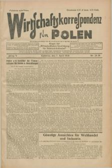 """Wirtschaftskorrespondenz für Polen : Organ der """"Wirtschaftlischen Vereinigung für Polnisch-Schlesien"""". Jg.5, Nr. 28/29 (7 April 1928)"""