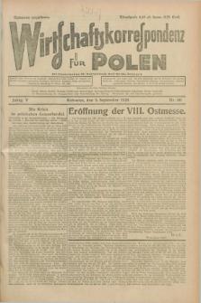 Wirtschaftskorrespondenz für Polen. Jg.5, Nr. 60 (5 September 1928)