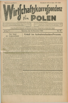 Wirtschaftskorrespondenz für Polen. Jg.5, Nr. 75 (10 November 1928)