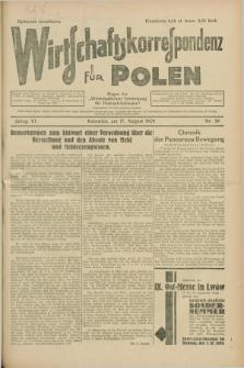 """Wirtschaftskorrespondenz für Polen : Organ der """"Wirtschaftlischen Vereinigung für Polnisch-Schlesien"""". Jg.6, Nr. 39 (17 August 1929)"""