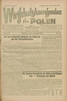 """Wirtschaftskorrespondenz für Polen : organ der """"Wirtschaftlischen Vereinigung für Polnisch-Schlesien"""". Jg.6, Nr. 44 (21 September 1929)"""
