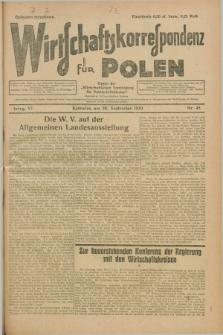 """Wirtschaftskorrespondenz für Polen : organ der """"Wirtschaftlischen Vereinigung für Polnisch-Schlesien"""". Jg.6, Nr. 45 (28 September 1929)"""