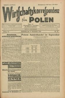 """Wirtschaftskorrespondenz für Polen : organ der """"Wirtschaftlischen Vereinigung für Polnisch-Schlesien"""". Jg.6, Nr. 51 (9 November 1929)"""