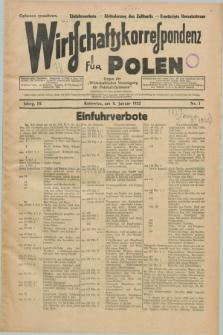 """Wirtschaftskorrespondenz für Polen : Organ der """"Wirtschaftlischen Vereinigung für Polnisch-Schlesien"""". Jg.9, Nr. 1 (8 Januar 1932)"""