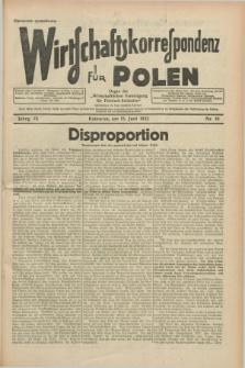 """Wirtschaftskorrespondenz für Polen : organ der """"Wirtschaftlischen Vereinigung für Polnisch-Schlesien"""". Jg.9, Nr. 16 (15 Juni 1932)"""