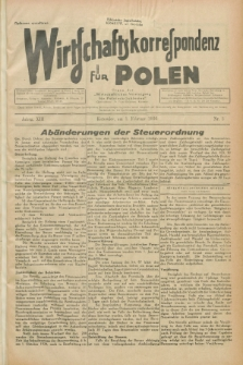 """Wirtschaftskorrespondenz für Polen : Organ der """"Wirtschaftlischen Vereinigung für Polnisch-Schlesien"""". Jg.13, Nr. 3 (1 Februar 1936)"""