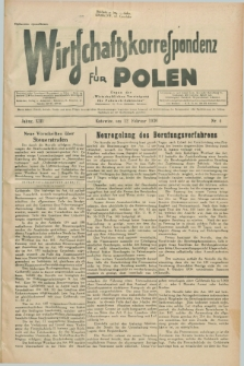 """Wirtschaftskorrespondenz für Polen : Organ der """"Wirtschaftlischen Vereinigung für Polnisch-Schlesien"""". Jg.13, Nr. 4 (12 Februar 1936)"""