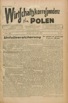 """Wirtschaftskorrespondenz für Polen : Organ der """"Wirtschaftlischen Vereinigung für Polnisch-Schlesien"""". Jg.13, Nr. 9 (8 April 1936)"""