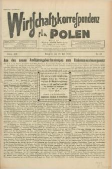 """Wirtschaftskorrespondenz für Polen : Organ der """"Wirtschaftlischen Vereinigung für Polnisch-Schlesien"""". Jg.13, Nr. 20 (22 Juli 1936)"""