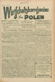 """Wirtschaftskorrespondenz für Polen : Organ der """"Wirtschaftlischen Vereinigung für Polnisch-Schlesien"""". Jg.13, Nr. 21 (1 August 1936)"""