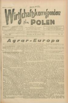 """Wirtschaftskorrespondenz für Polen : Organ der """"Wirtschaftlischen Vereinigung für Polnisch-Schlesien"""". Jg.13, Nr. 23 (29 August 1936)"""