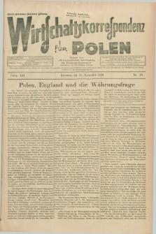 """Wirtschaftskorrespondenz für Polen : Organ der """"Wirtschaftlischen Vereinigung für Polnisch-Schlesien"""". Jg.13, Nr. 30 (11 November 1936)"""