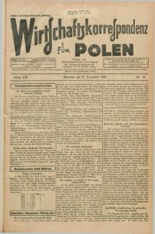 """Wirtschaftskorrespondenz für Polen : Organ der """"Wirtschaftlischen Vereinigung für Polnisch-Schlesien"""". Jg.13, Nr. 31 (21 November 1936)"""
