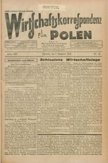 """Wirtschaftskorrespondenz für Polen : Organ der """"Wirtschaftlischen Vereinigung für Polnisch-Schlesien"""". Jg.13, Nr. 32 (2 Dezember 1936)"""