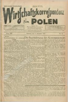 """Wirtschaftskorrespondenz für Polen : Organ der """"Wirtschaftlischen Vereinigung für Polnisch-Schlesien"""". Jg.13, Nr. 35 (31 Dezember 1936)"""