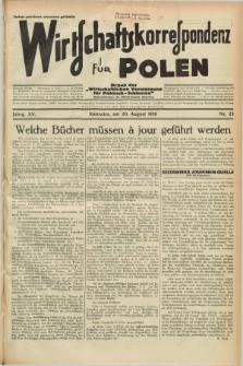 """Wirtschaftskorrespondenz für Polen : Organ der """"Wirtschaftlischen Vereinigung für Polnisch-Schlesien"""". Jg.15, Nr. 23 (20 August 1938)"""