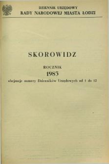 Dziennik Urzędowy Rady Narodowej M. Łodzi. 1983, Skorowidz
