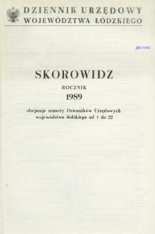 Dziennik Urzędowy Województwa Łódzkiego. 1989, Skorowidz
