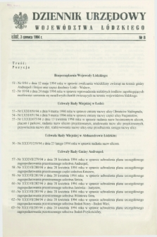 Dziennik Urzędowy Województwa Łódzkiego. 1994, nr 8 (3 czerwca) + wkładka