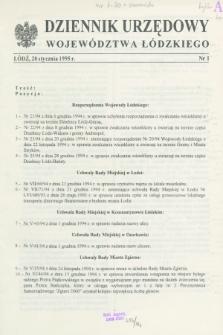 Dziennik Urzędowy Województwa Łódzkiego. 1995, nr 1 (20 stycznia)