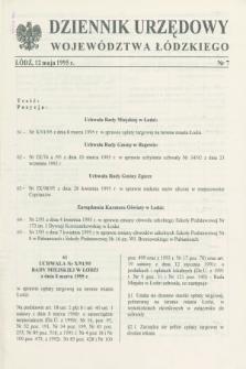Dziennik Urzędowy Województwa Łódzkiego. 1995, nr 7 (12 maja)