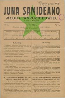 Juna Samideano = Młody Współideowiec. Jaro 1, nr 1 (sierpień 1931)